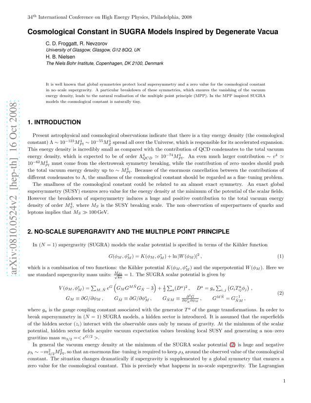 C. D. Froggatt - Cosmological Constant in SUGRA Models Inspired by Degenerate Vacua