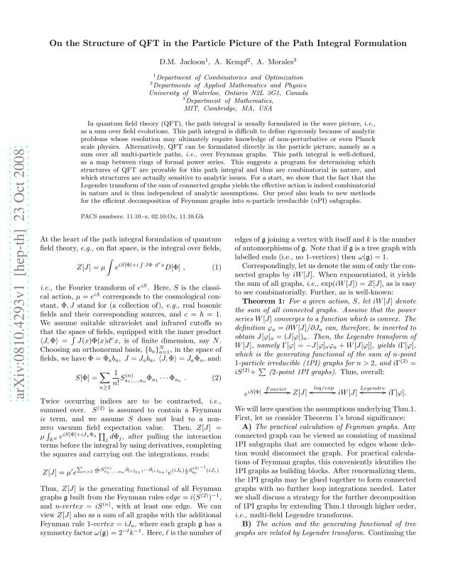 D. M. Jackson - On the Structure of QFT in the Particle Picture of the Path Integral Formulation