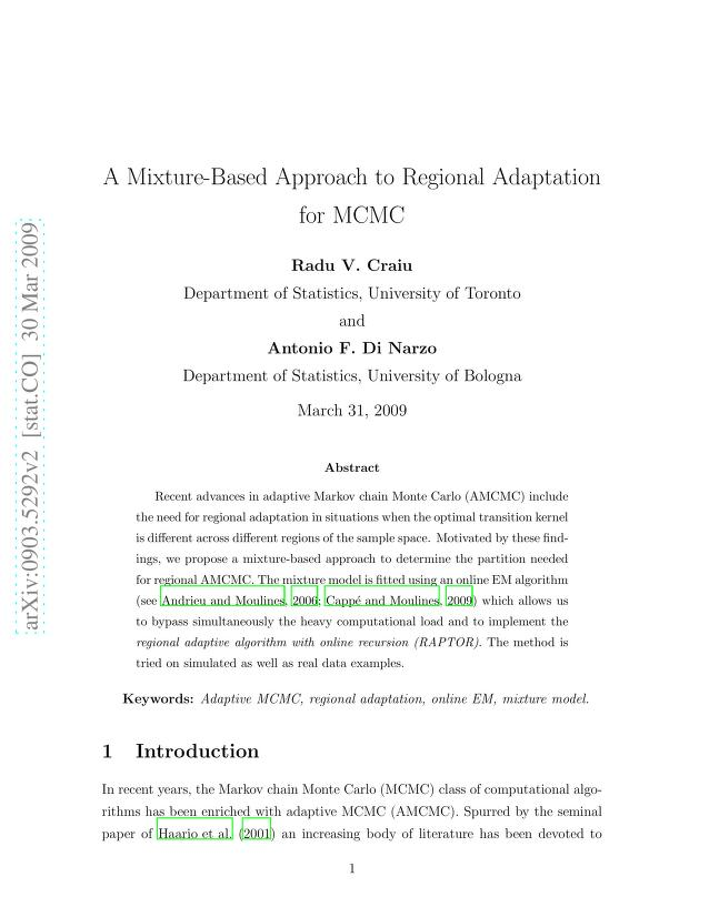 Radu V. Craiu - A Mixture-Based Approach to Regional Adaptation for MCMC