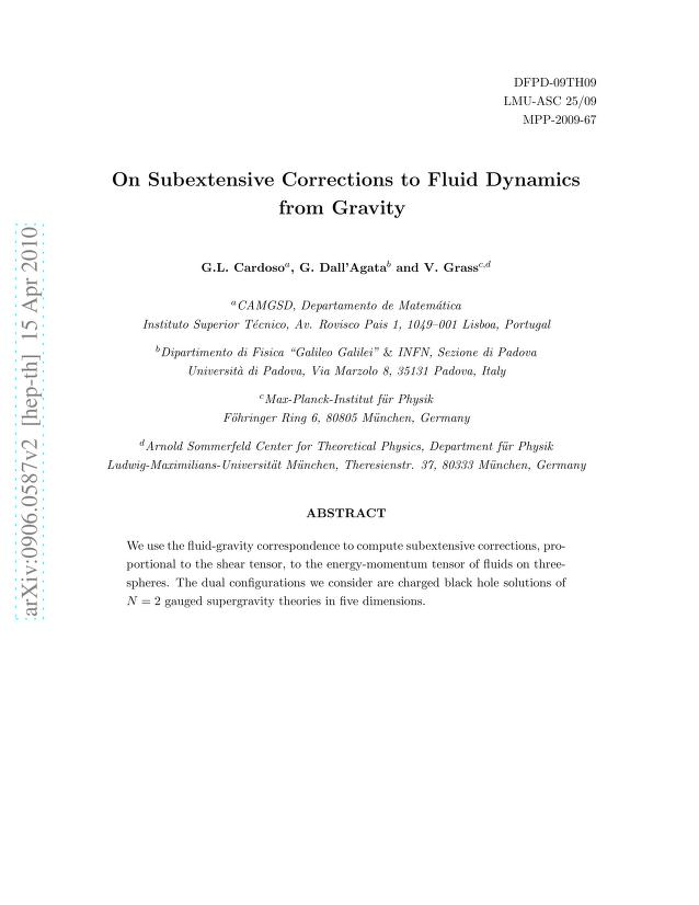G. L. Cardoso - On Subextensive Corrections to Fluid Dynamics from Gravity
