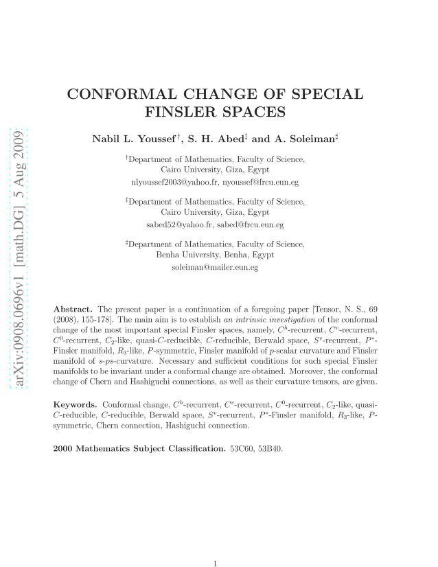 Nabil L. Youssef - Conformal change of special Finsler spaces