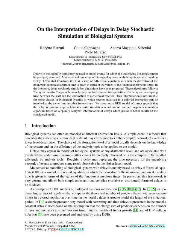 Roberto Barbuti - On the Interpretation of Delays in Delay Stochastic Simulation of Biological Systems
