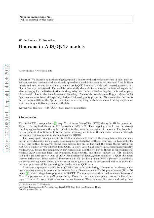 W de Paula - Hadrons in AdS/QCD models