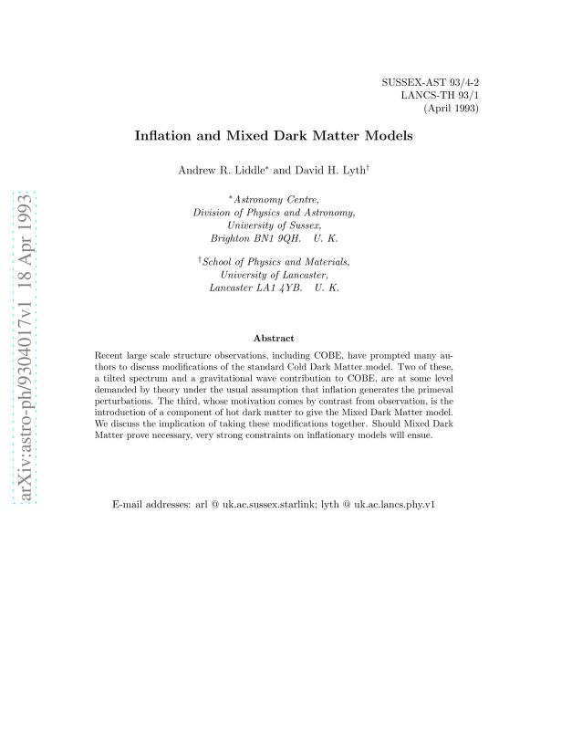 Andrew R Liddle - Inflation and Mixed Dark Matter Models