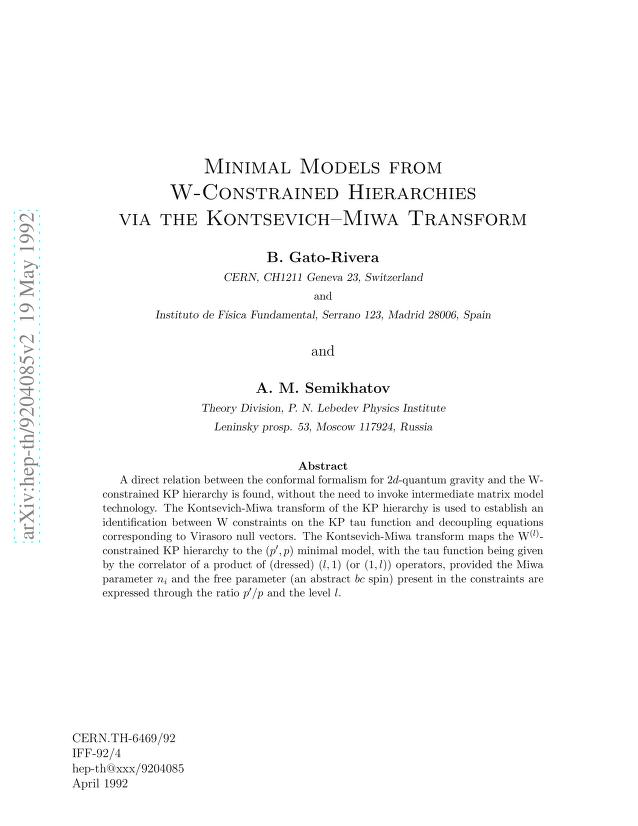 B. ~Gato-Rivera - Minimal Models from W-Constrained Hierarchies via the Kontsevich-Miwa Transform